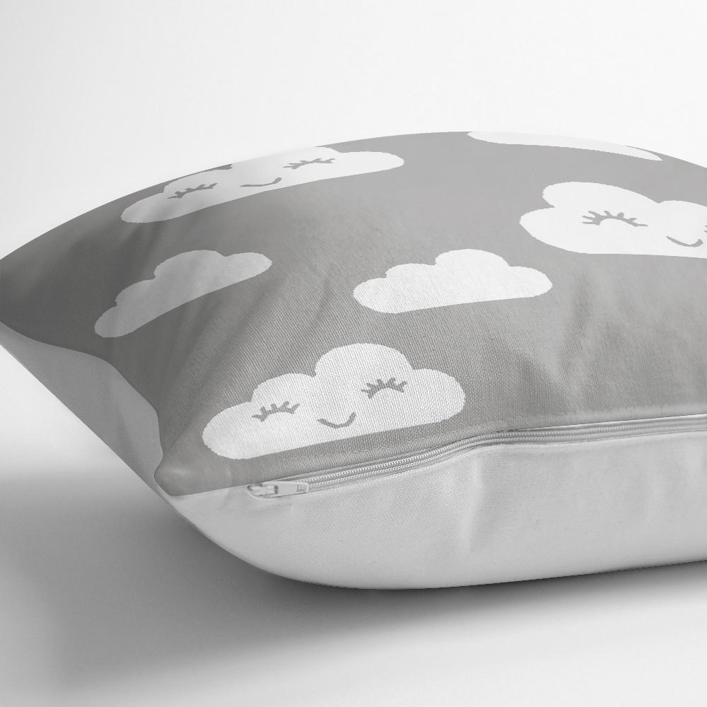 Gri Zeminli Bulut Motifli Dijital Baskılı Dekoratif Kırlent Kılıfı Realhomes