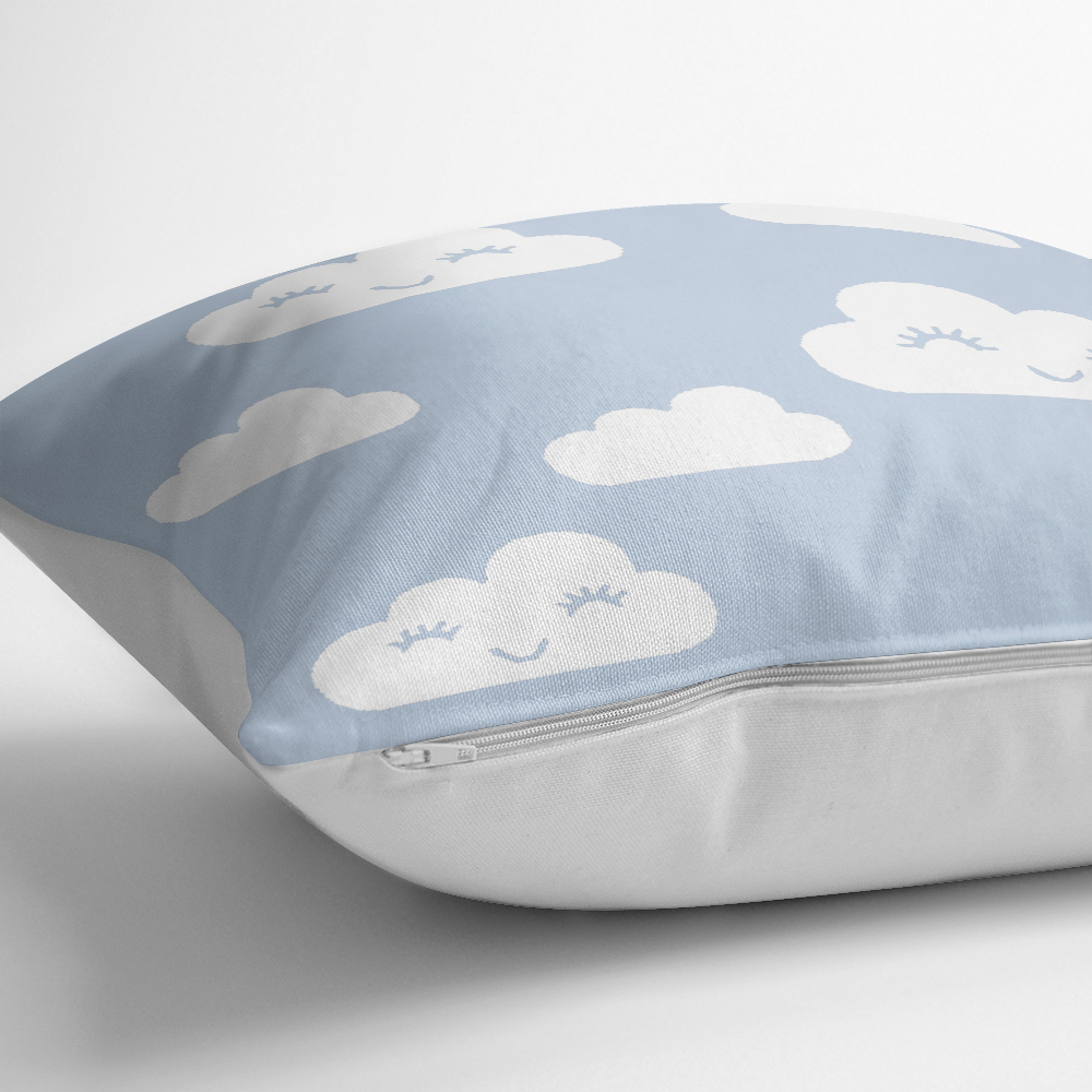 Mavi Zeminli Bulut Temalı Dijital Baskılı Modern Yastık Kılıfı Realhomes