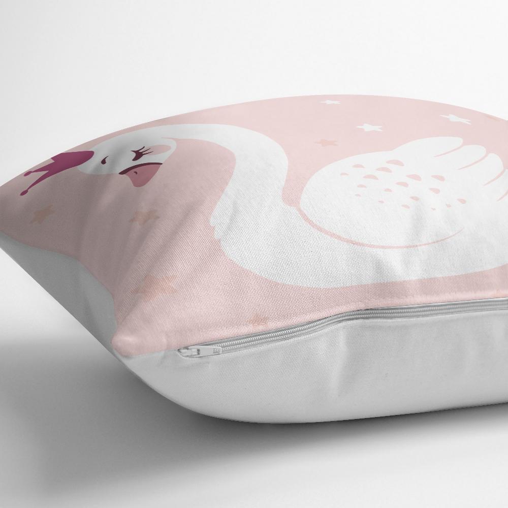 Pembe Zeminli Kuğu Desenli Dijital Baskılı Yastık Kılıfı Realhomes
