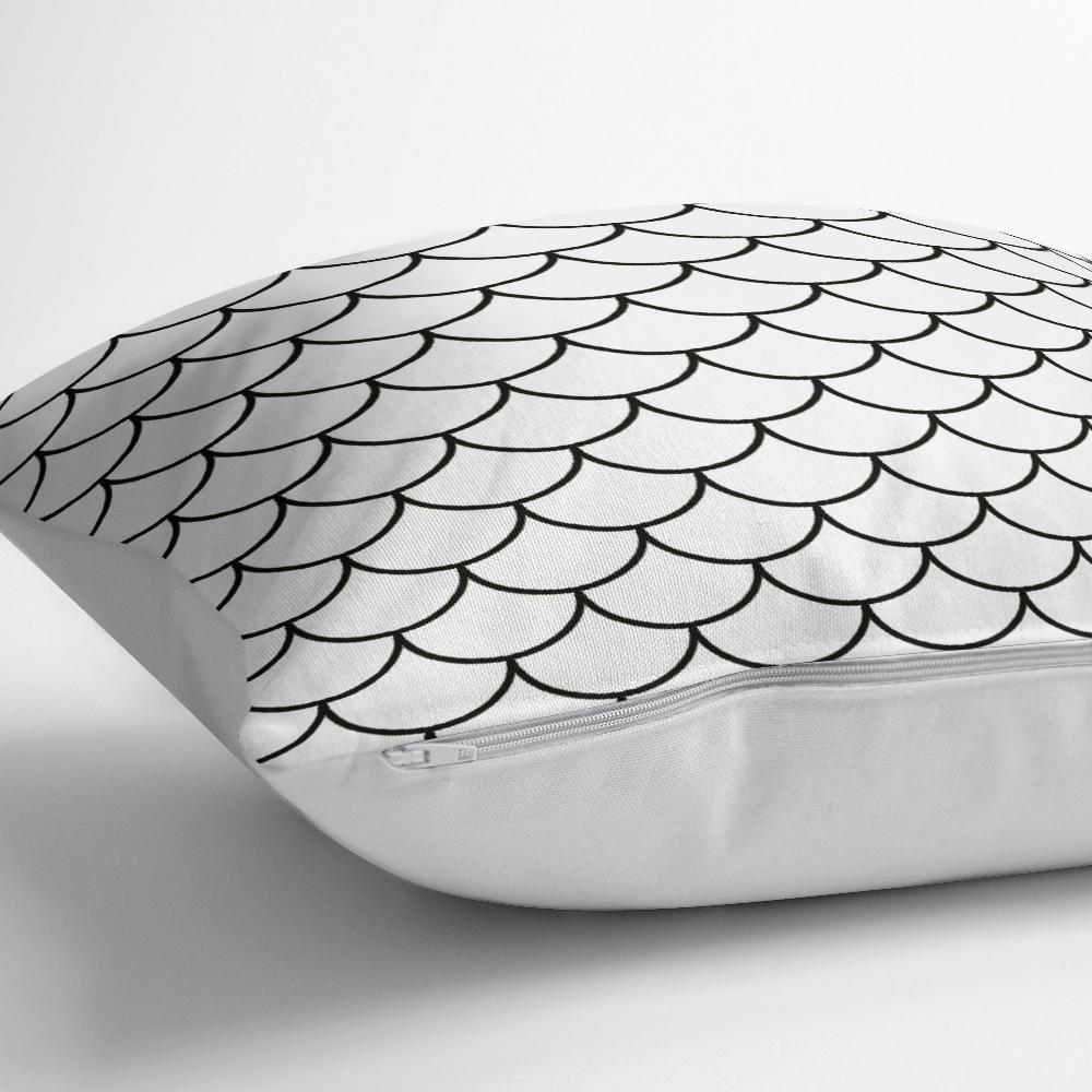 Siyah Geometrik Desenli Dijital Baskılı Modern Yastık Kılıfı Realhomes