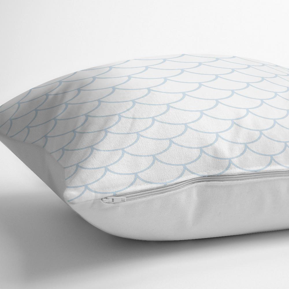 Açık Mavi Geometrik Desenli Dijital Baskılı Yastık Kılıfı Realhomes