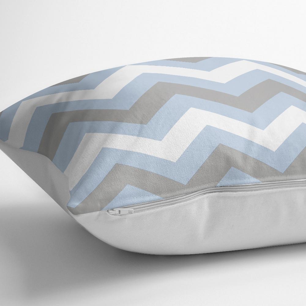 Mavi Gri Zigzag Desenli Dijital Baskılı Dekoratif Yastık Kılıfı Realhomes