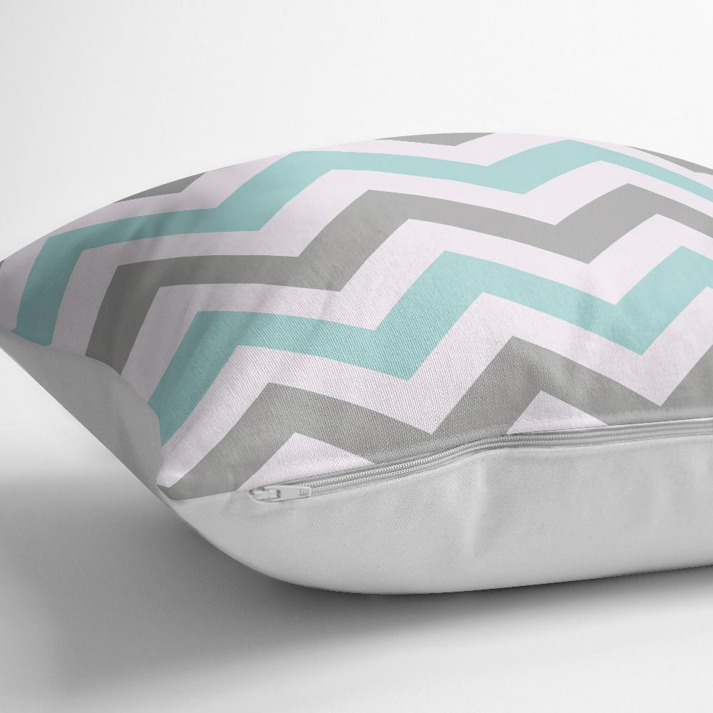 Turkuaz Gri Zigzag Desenli Dijital Baskılı Modern Yastık Kılıfı Realhomes