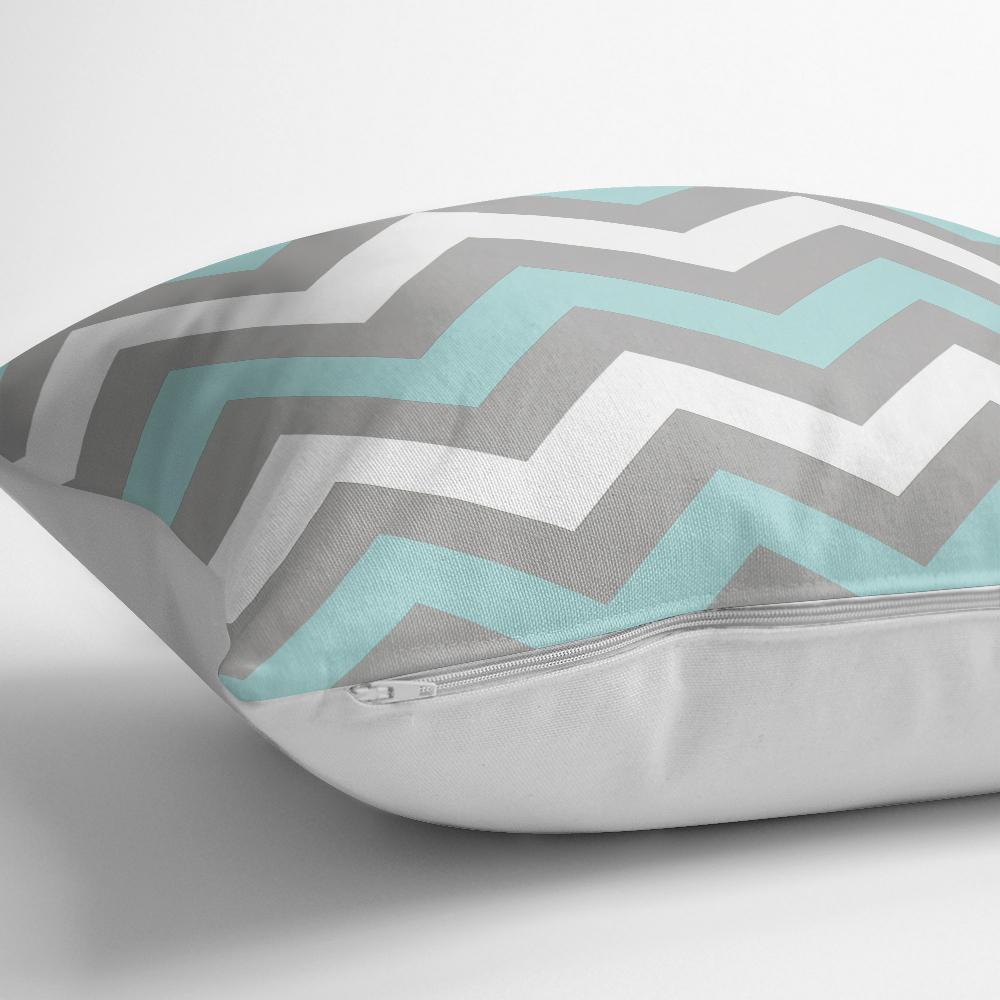 Gri Turkuaz Zigzag Desenli Dijital Baskılı Dekoratif Kırlent Kılıfı Realhomes