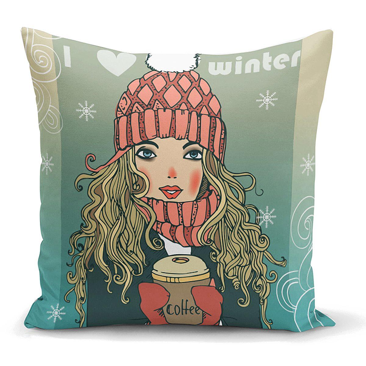 Kış Temalı Pop Art Desenli Dijital Baskılı Modern Yastık Kılıfı Realhomes