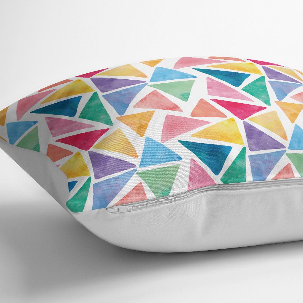 Renkli Geometrik Resimli Dijital Baskılı Modern Kırlent Kılıfı Realhomes