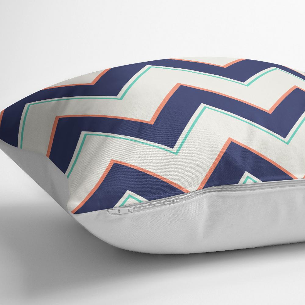 Renkli Zigzag Desenli Dijital Baskılı Dekoratif Kırlent Kılıfı Realhomes