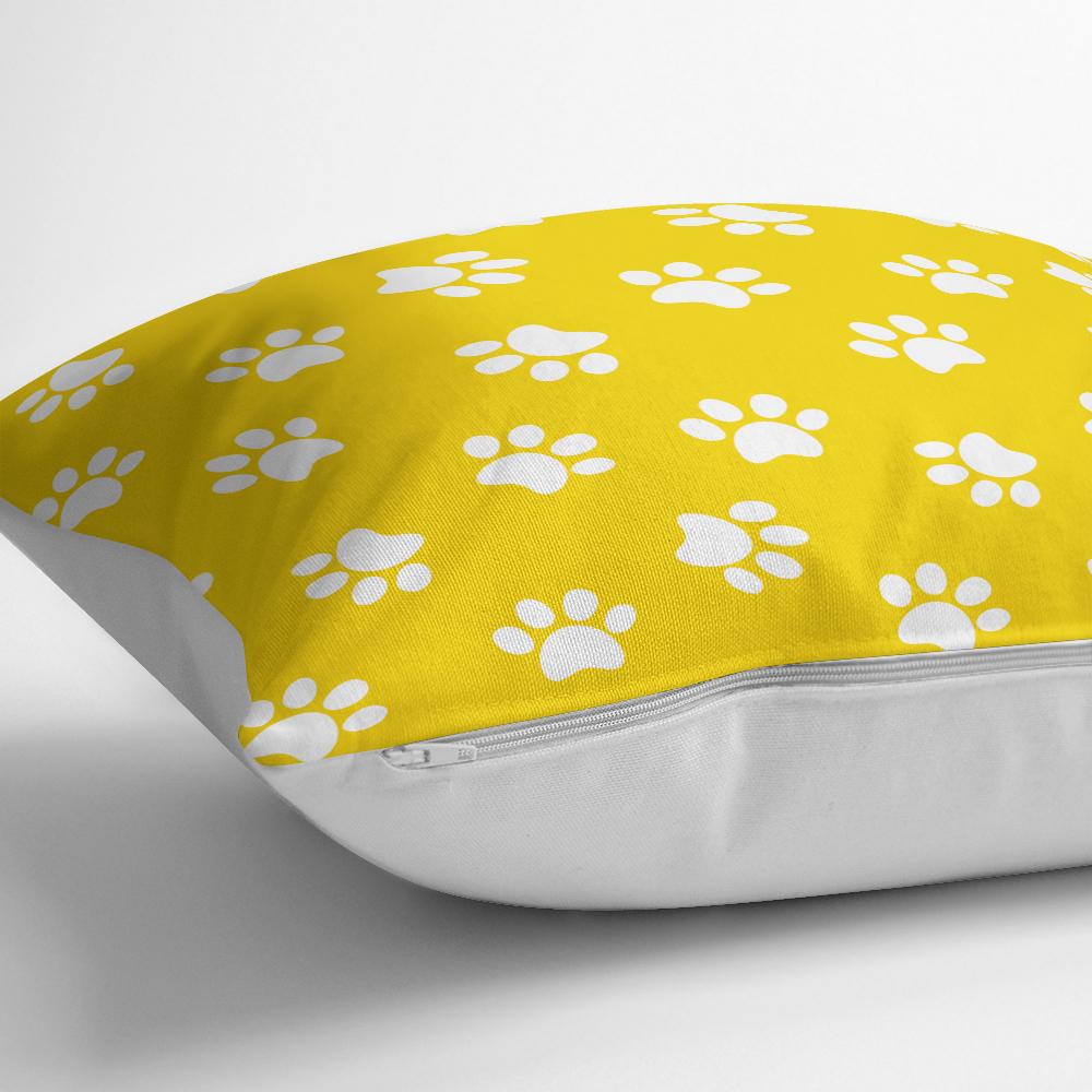 Sarı Zeminli Pati Resimli Dijital Baskılı Dekoratif Kırlent Kılıfı Realhomes