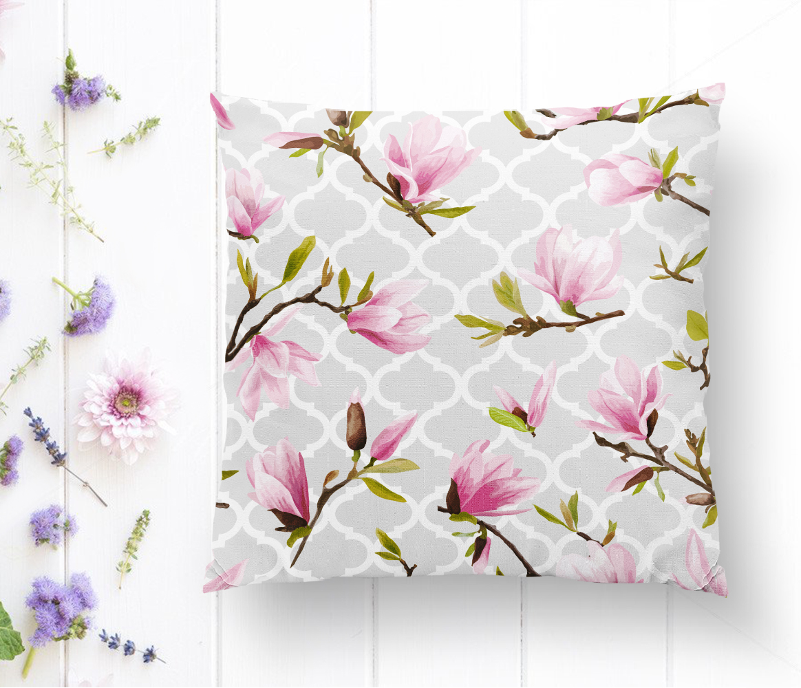Geometrik Zeminli Çiçek Temalı Modern Yastık Kılıfı Realhomes