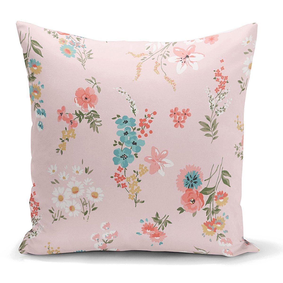 Pembe Zeminli Çiçek Desenli Modern Yastık Kırlent Kılıfı Realhomes