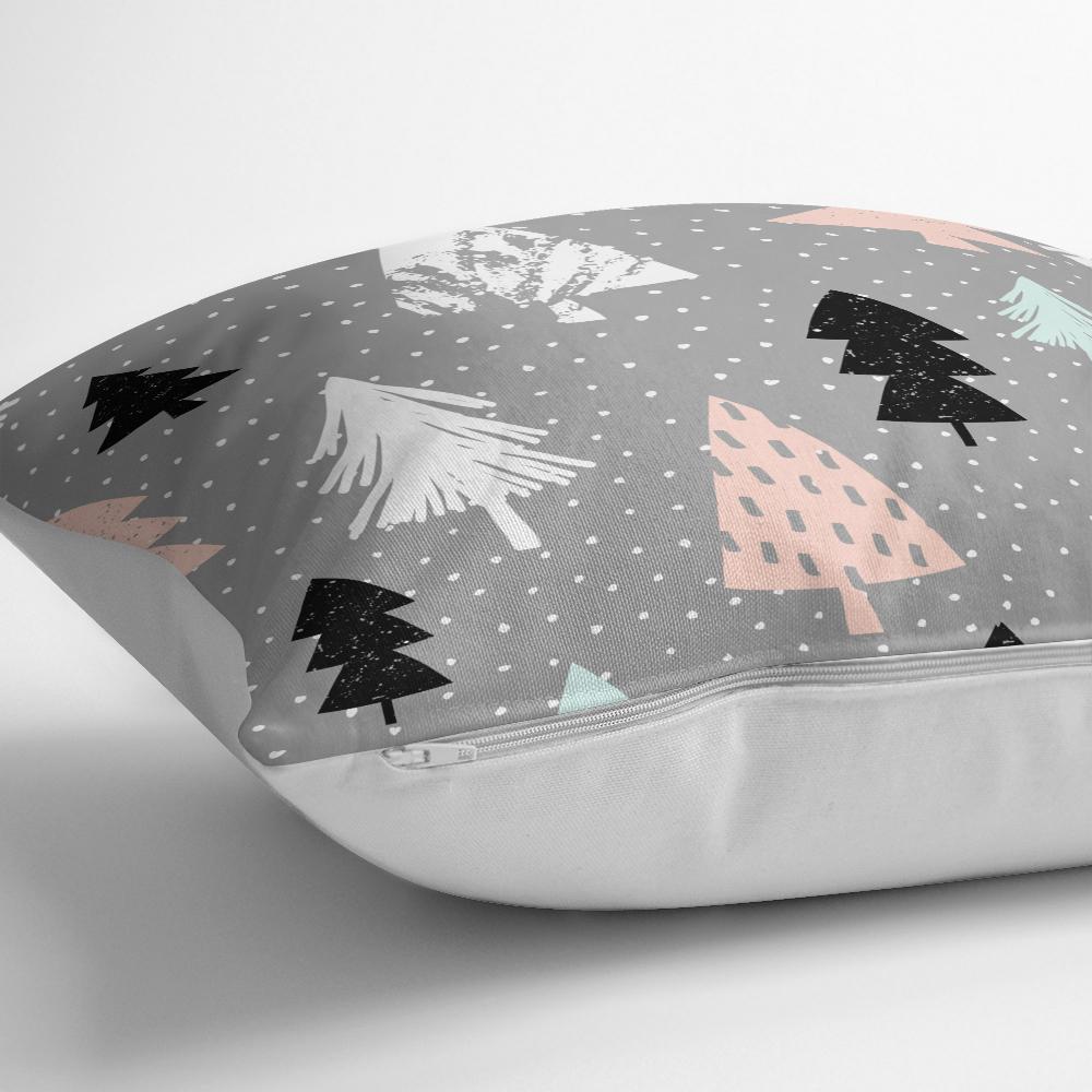 Gri Zeminli Ağaç Temalı Dijital Baskılı Dekoratif Yastık Kılıfı Realhomes