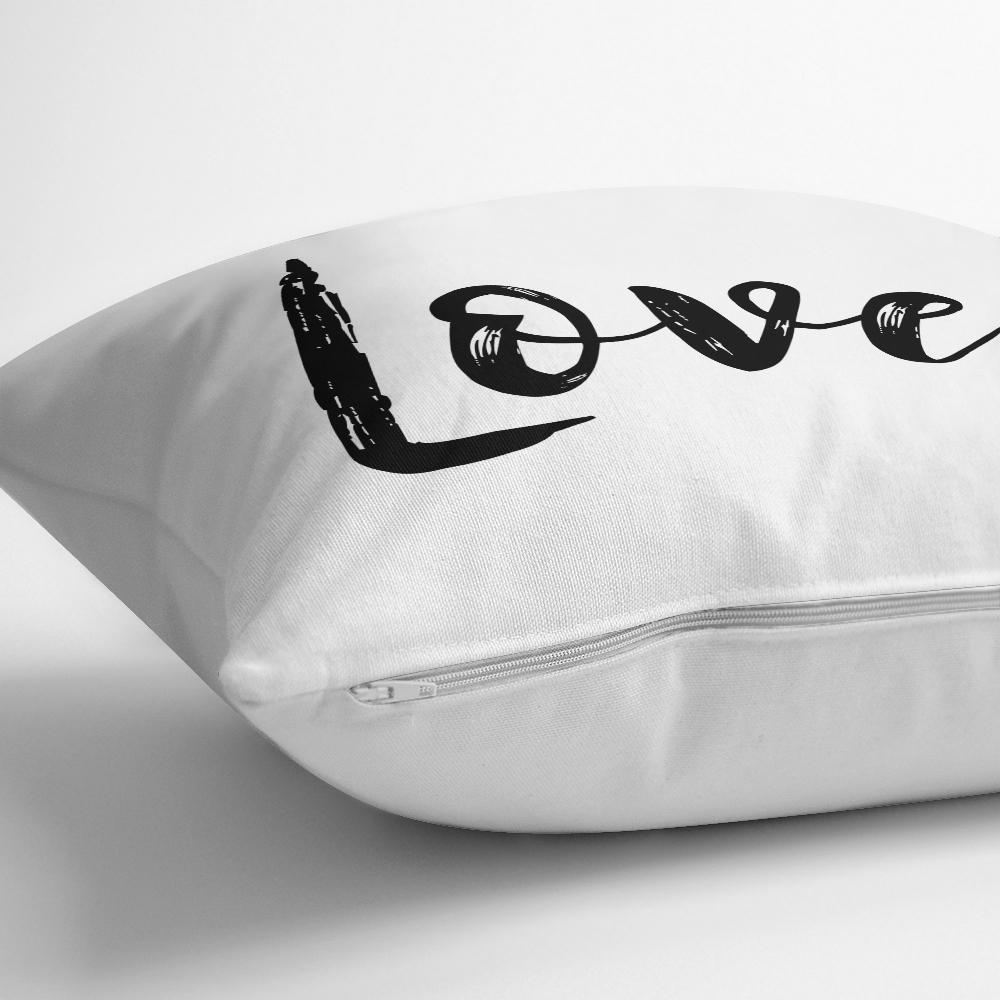 Love Yazı Desenli Dijital Baskılı Dekoratif Yastık Kırlent Kılıfı Realhomes