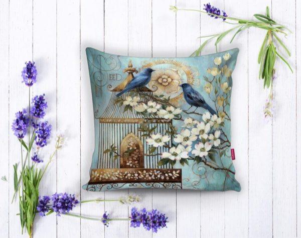 Mavi Kuş Desen Dijital Baskılı Dekoratif Yastık Kırlent Kılıfı Realhomes