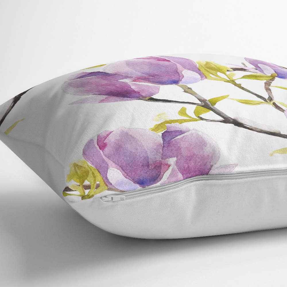 Sulu Boya Çiçek Desenli Dijital Baskılı Modern Yastık Kılıfı Realhomes