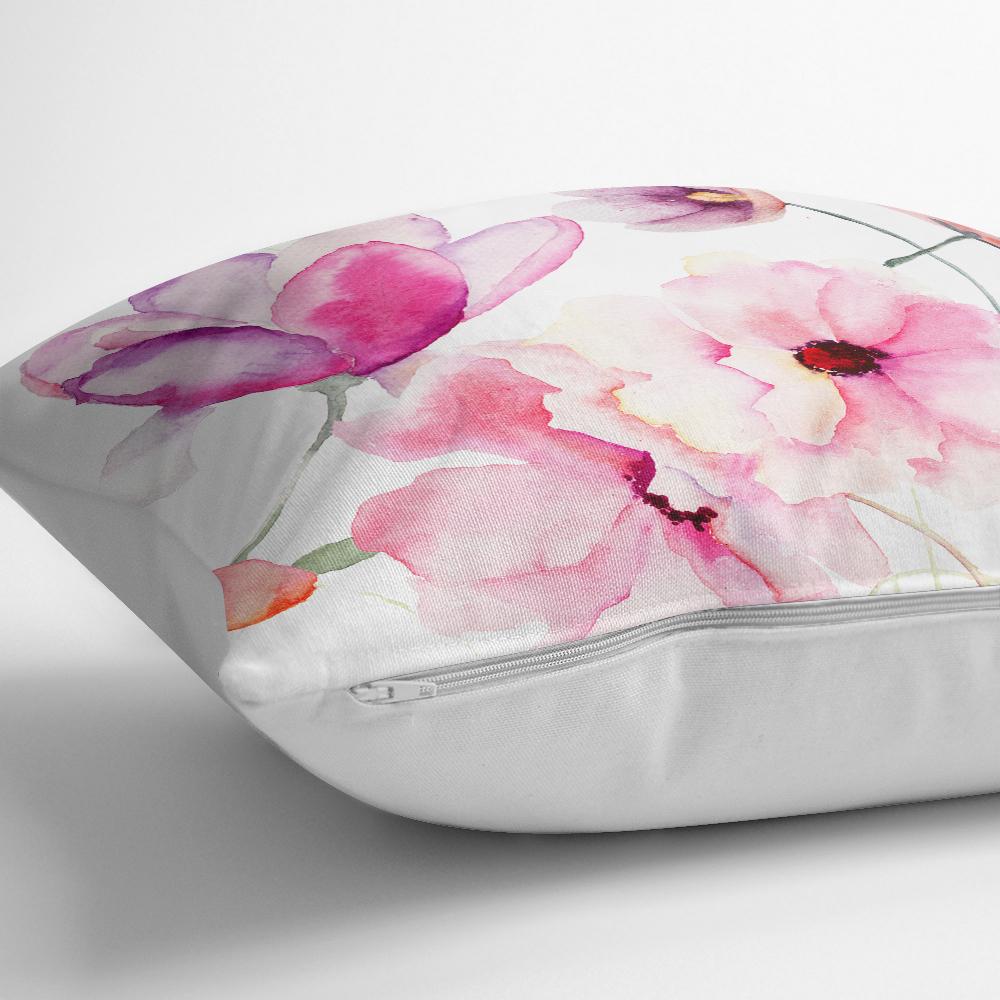 Beyaz Zeminli Çiçek Temalı Dijital Baskılı Modern Kırlent Kılıfı Realhomes
