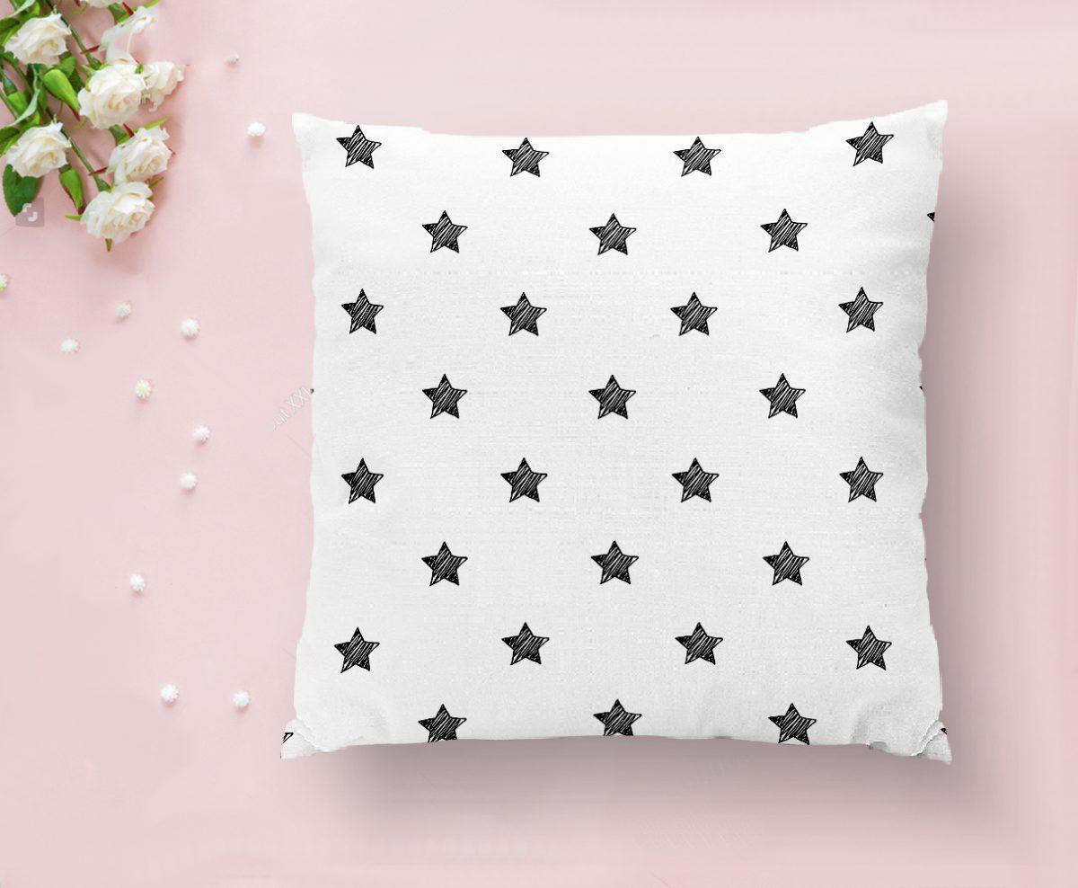 Beyaz Zeminli Yıldız Desenli Dijital Baskılı Dekoratif Yastık Kılıfı Realhomes