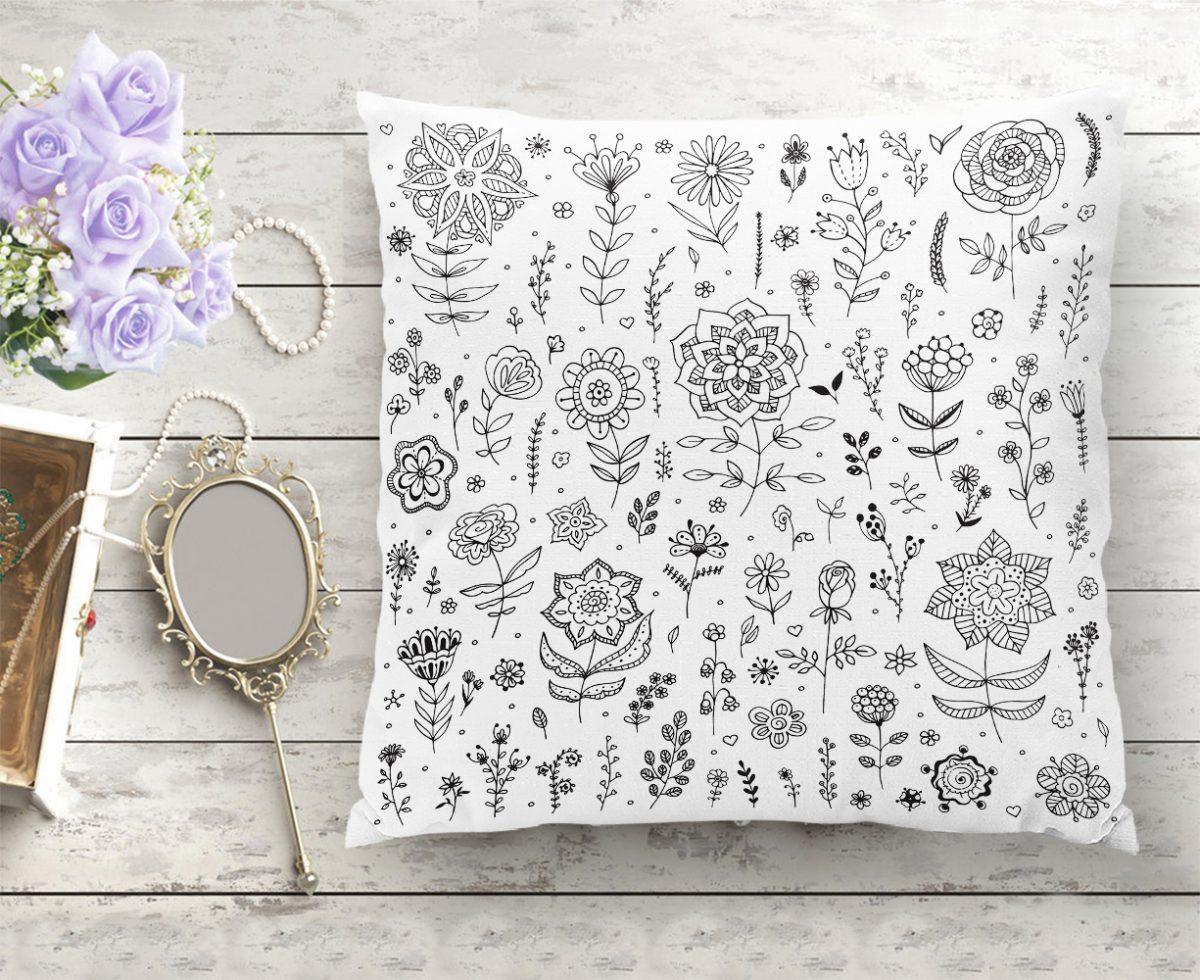 Modern Çiçek Motifli Dijital Baskılı Dekoratif Yastık Kılıfı Realhomes