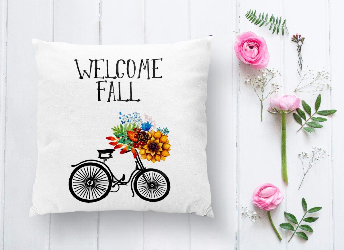 Welcome Fall Yazılı Dijital Baskılı Dekoratif Yastık Kırlent Kılıfı Realhomes