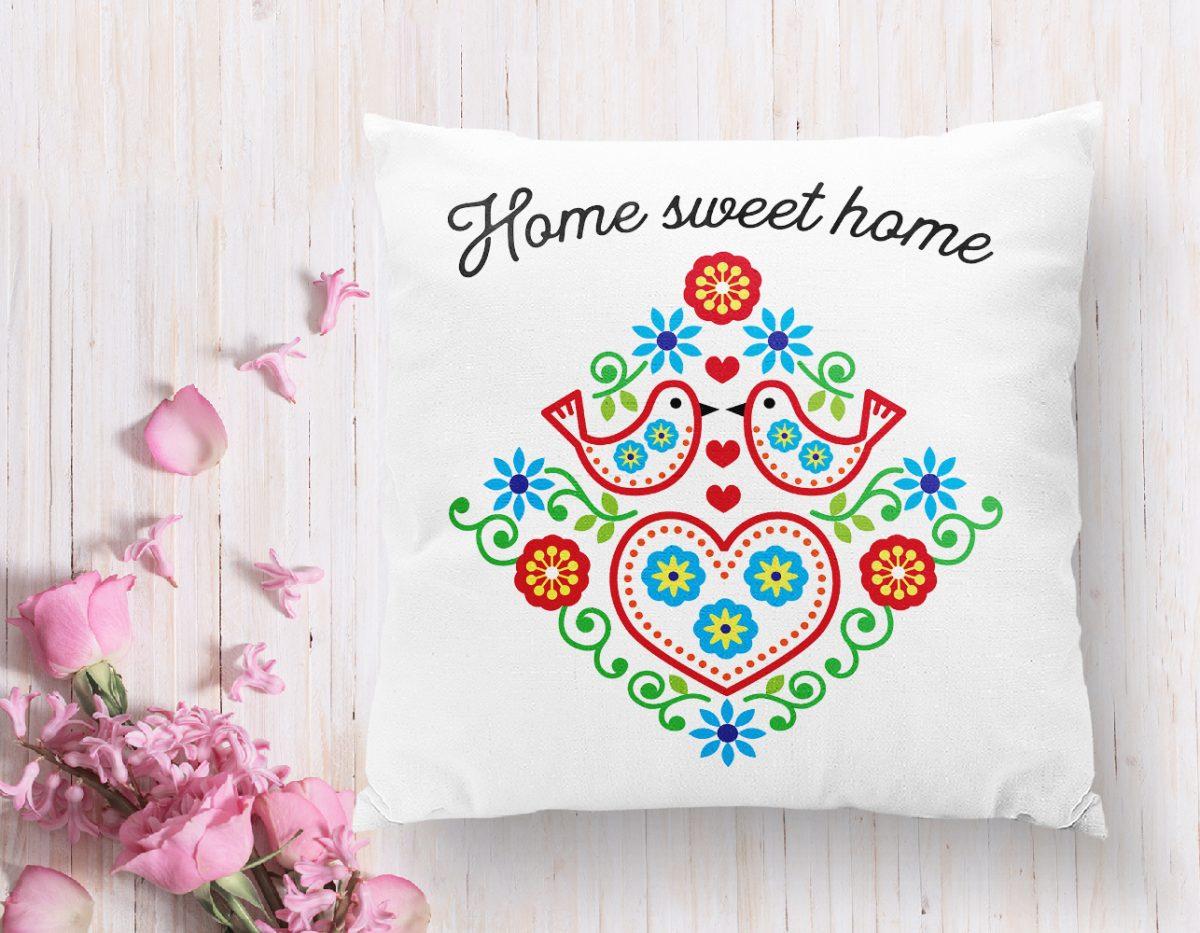 Home Sweet Home Yazılı Dijital Baskılı Modern Kırlent Kılıfı Realhomes