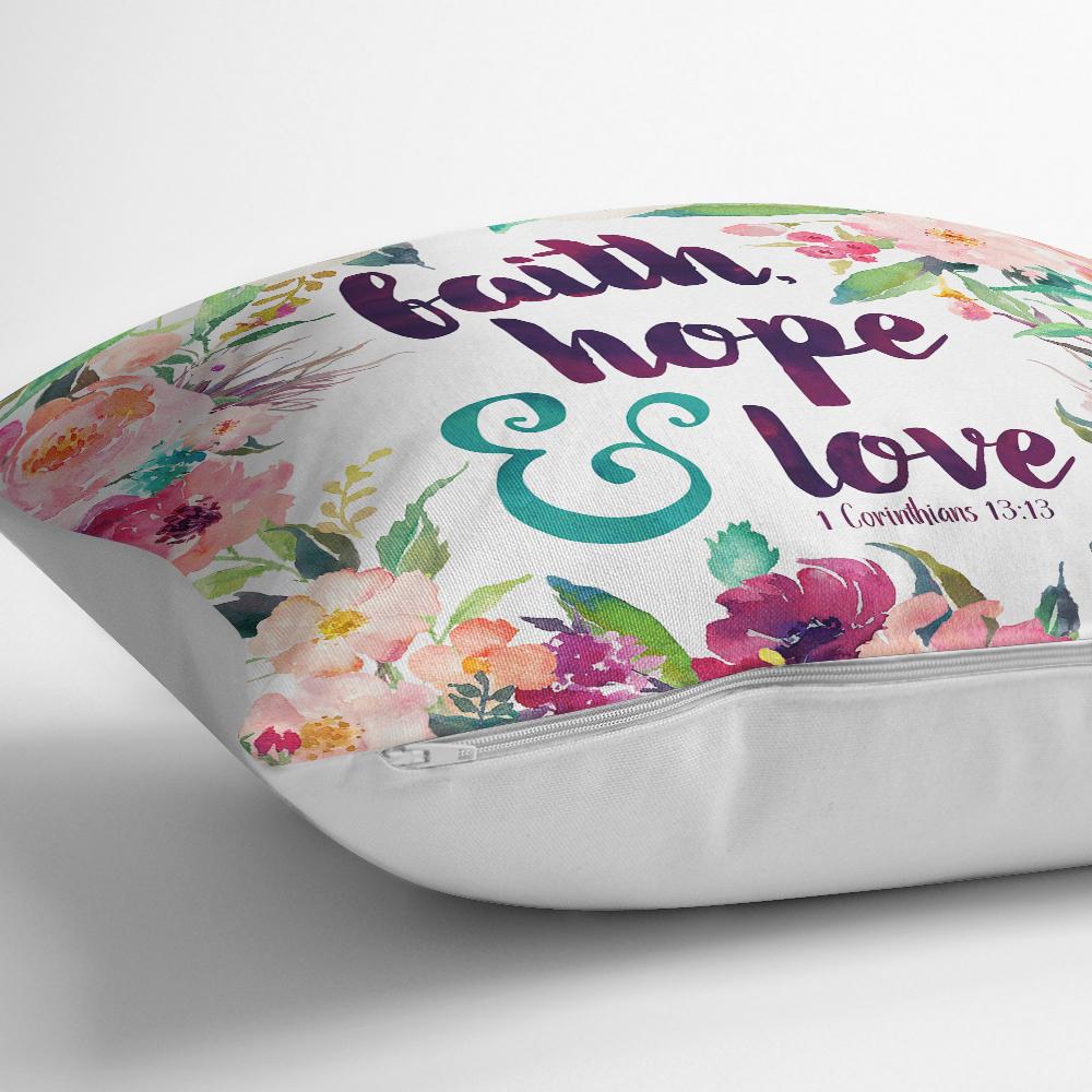 Çiçek Desenli Yazılı Dijital Baskılı Dekoratif Yastık Kırlent Kılıfı Realhomes
