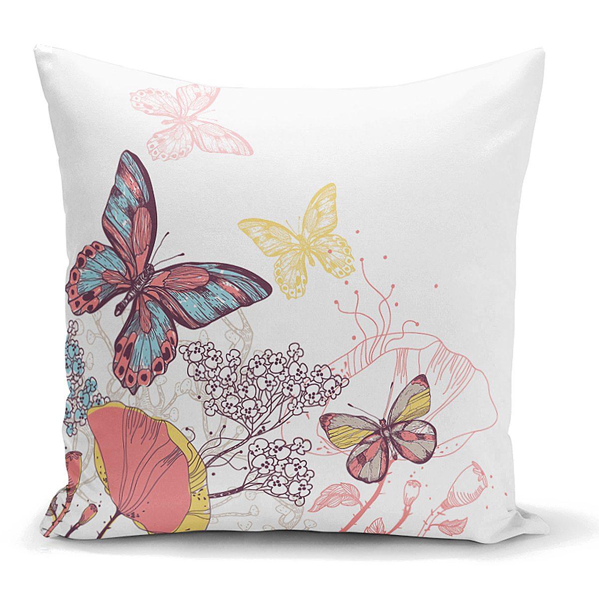 Özel Tasarım Renkli Kelebek Desenli Dijital Baskılı Yastık Kılıfı Realhomes