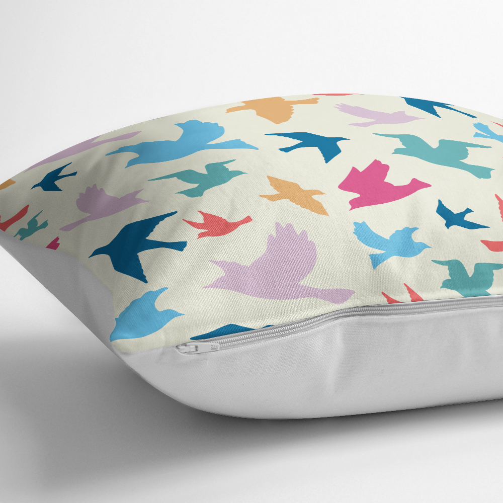 Modern Kuşlar Dijital Baskılı Dekoratif Yastık Kırlent Kılıfı Realhomes