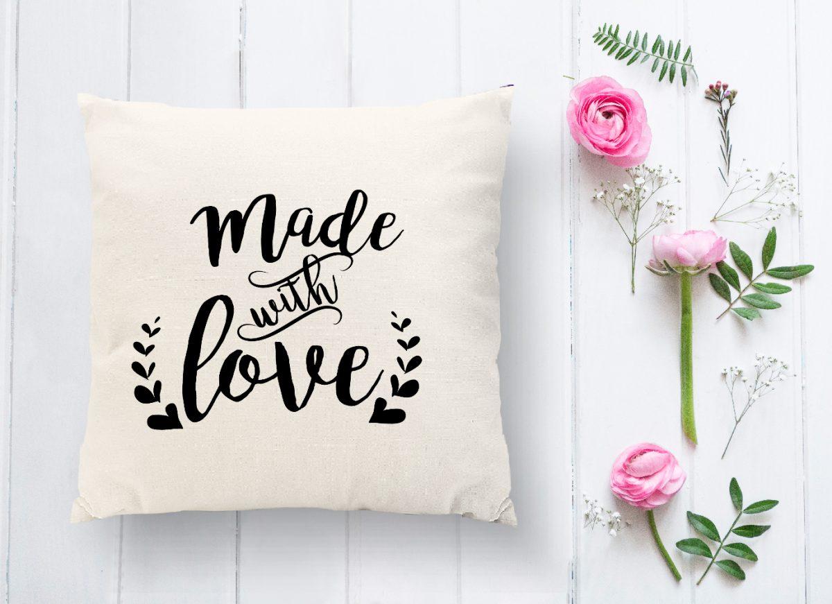 Made With Love Yazılı Dijital Baskılı Modern Kırlent Kılıfı Realhomes