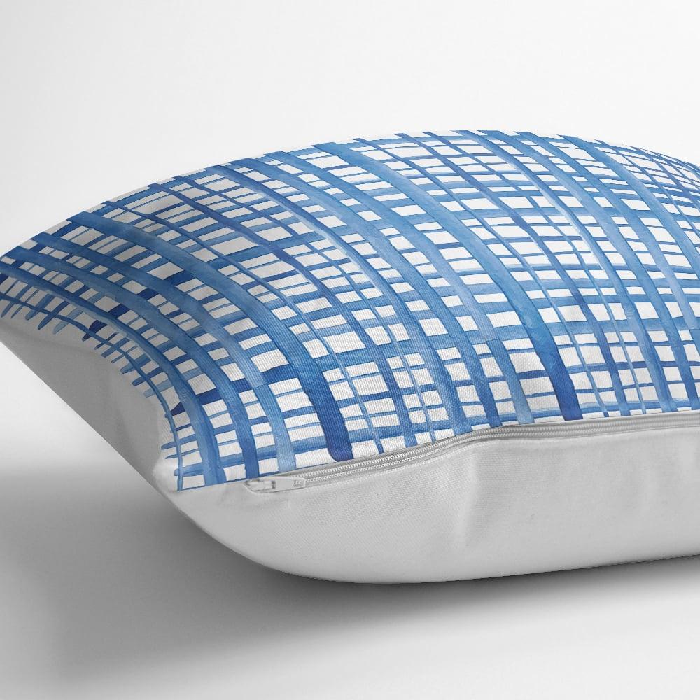 Mavi Çizgiler Desenli Dijital Baskılı Dekoratif Yastık Kılıfı Realhomes