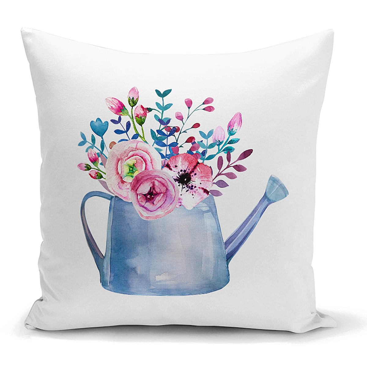 Sulu Boyalı Çiçek Desenli Dijital Baskılı Dekoratif Kırlent Kılıfı Realhomes