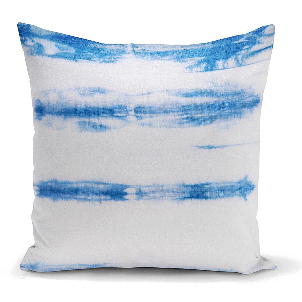 Mavi Beyaz Renkli Dijital Baskılı Modern Kırlent Kılıfı Realhomes