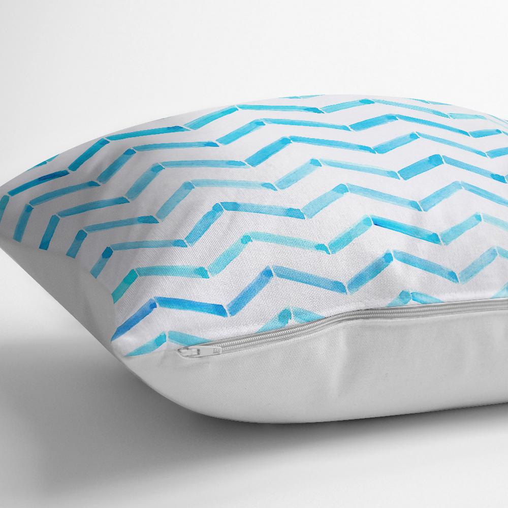 Modern Mavi Zigzag Desenli Dijital Baskılı Kırlent Kılıfı Realhomes
