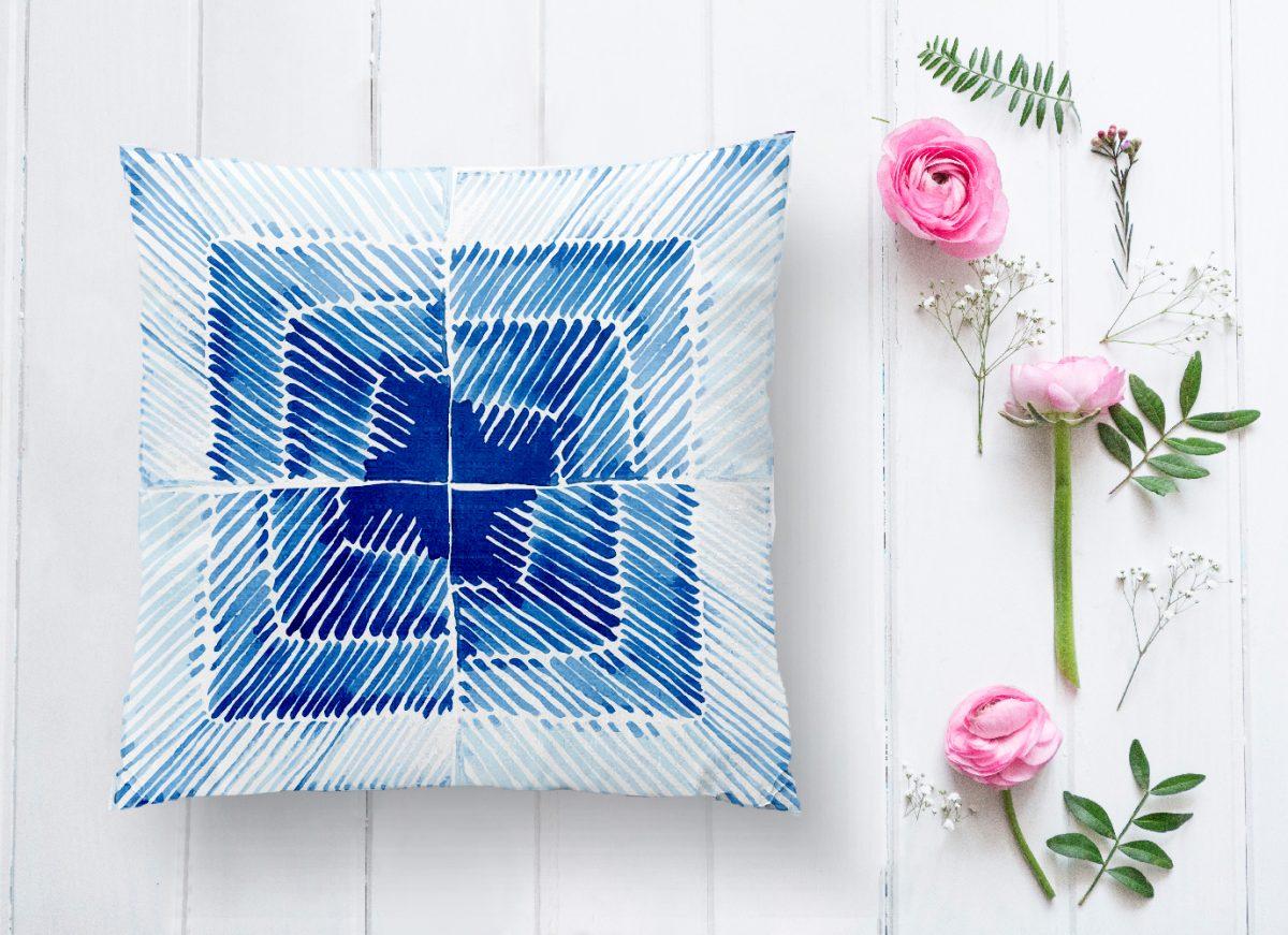 Mavi Kareli Resimli Dijital Baskılı Modern Kırlent Kılıfı Realhomes