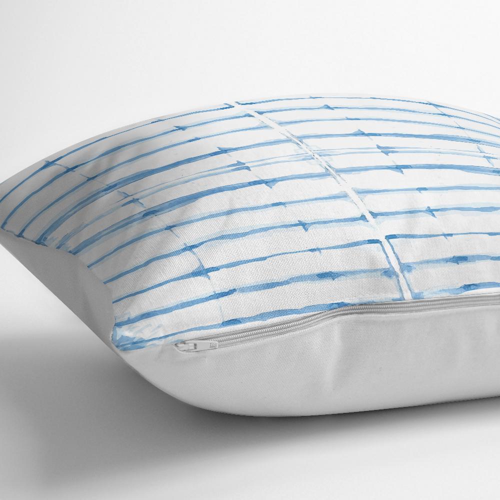 Mavi Çizgi Desenli Dijital Baskılı Dekoratif Yastık Kılıfı Realhomes