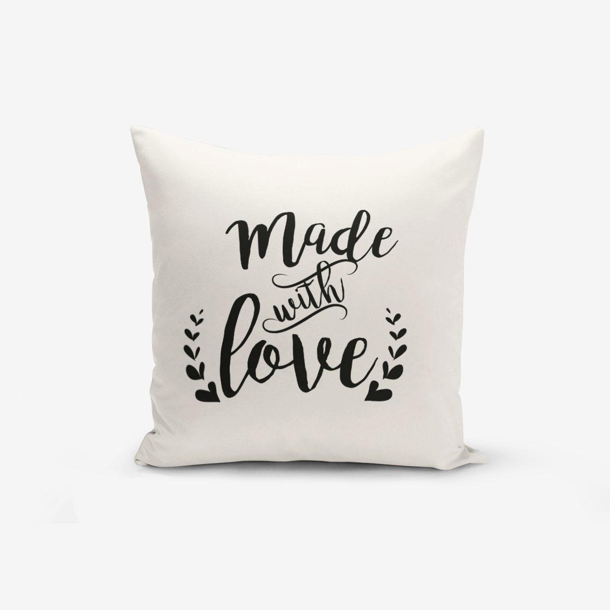 Made With Love Yazı Desenli Modern Kırlent Kılıfı Realhomes