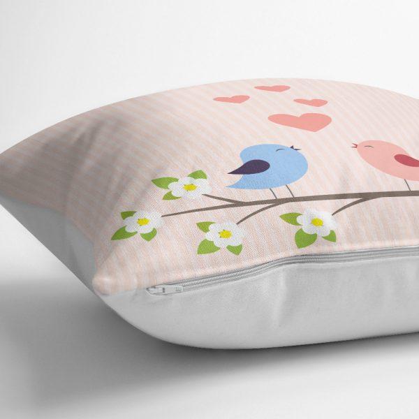 Lacivert Zeminli Çiçek Motifli Dijital Baskılı Yastık Kılıfı Realhomes