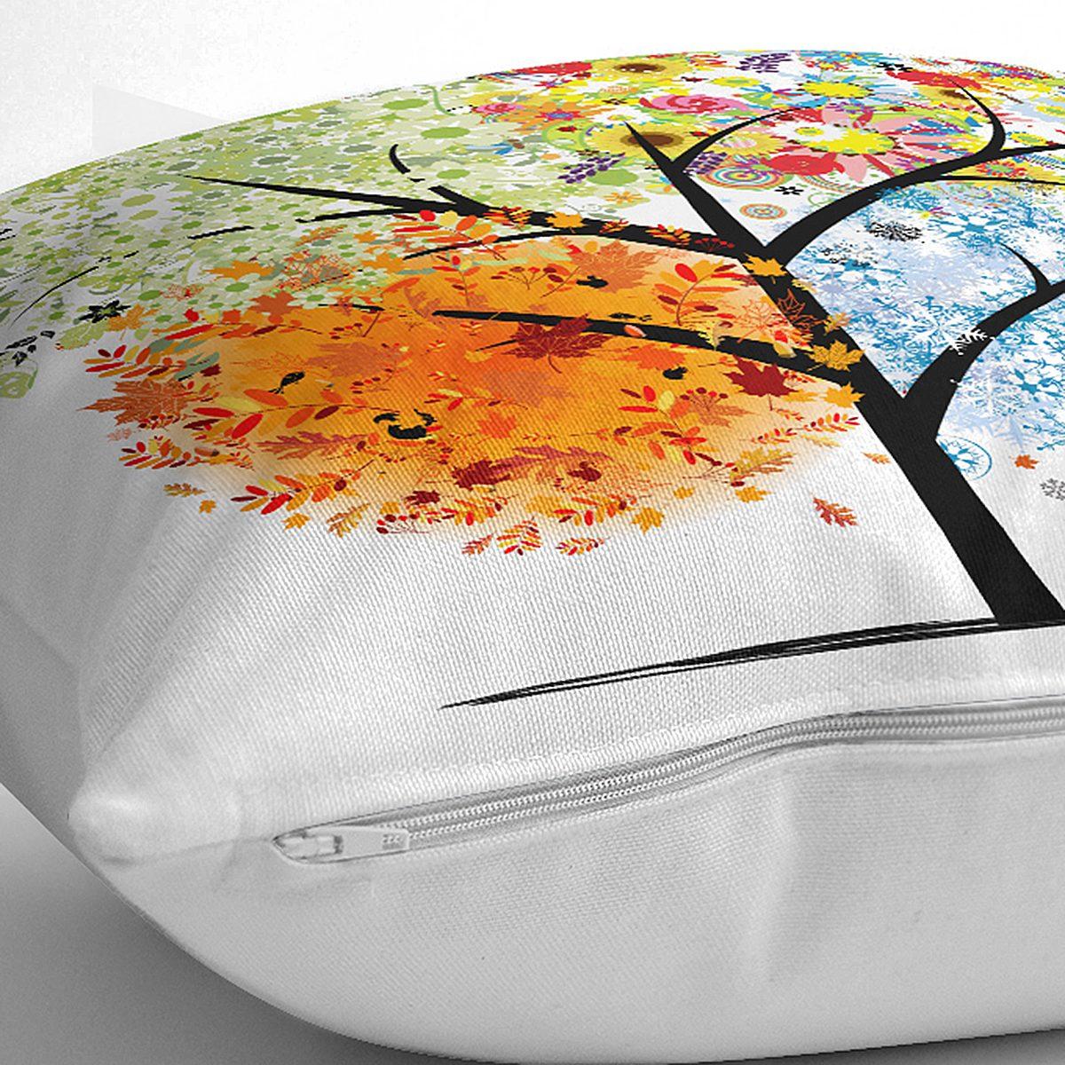 4 Mevsim Ağaç Resimli Dekoratif Yastık Kırlent Kılıfı Realhomes