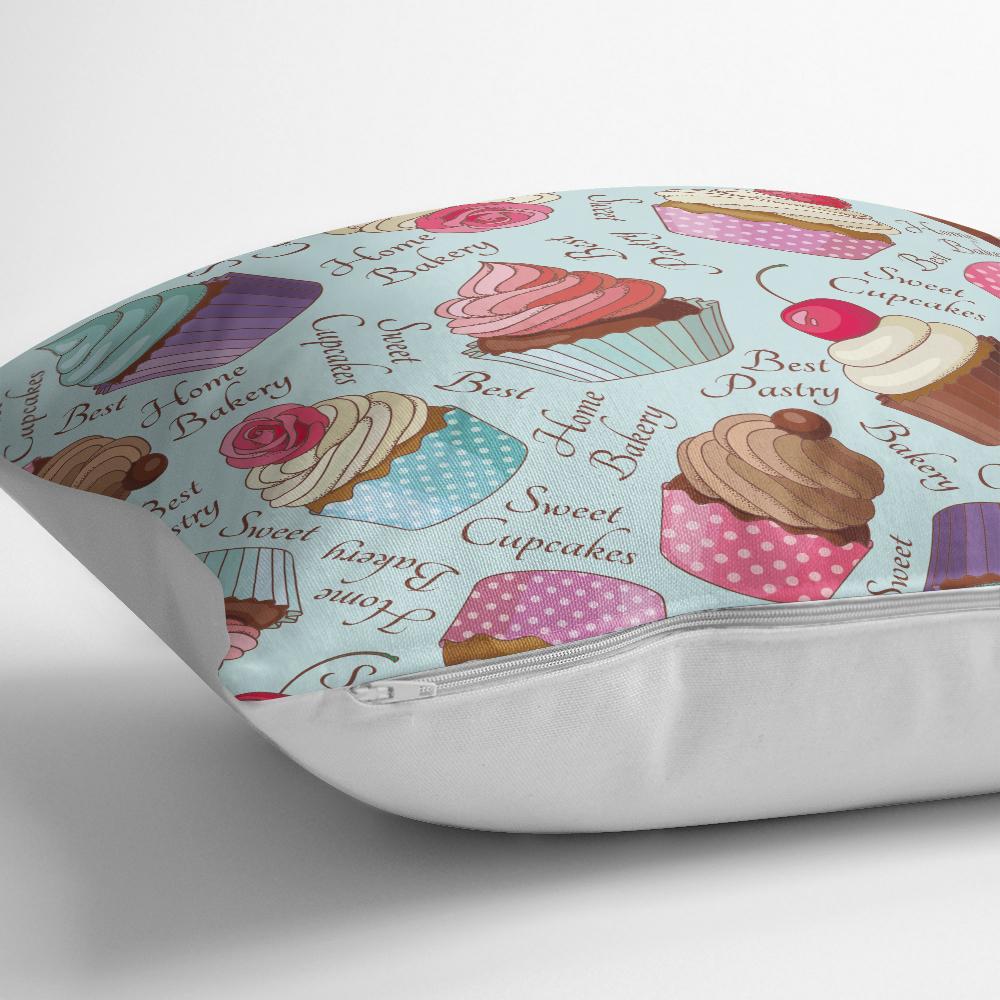 Renkli Cupcake Desenli Dijital Yastık Kırlent Kılıfı Realhomes