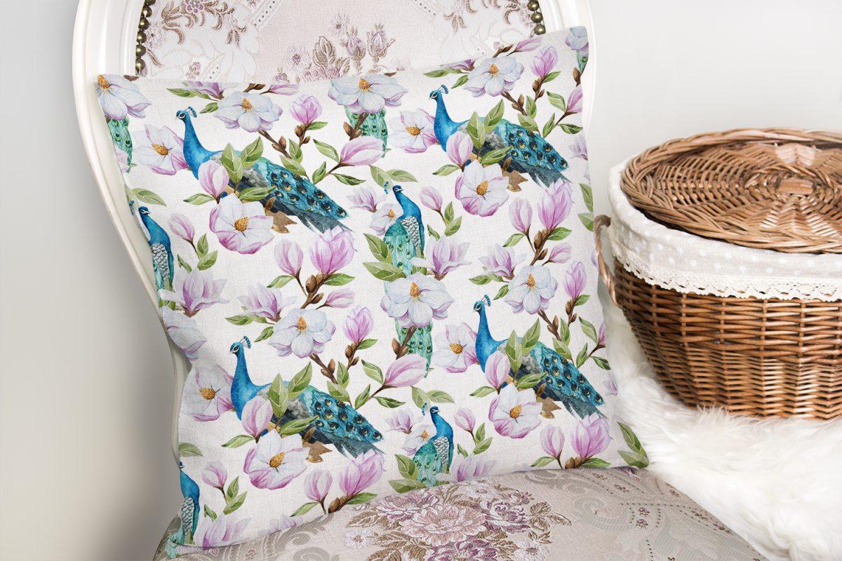 Tavuzkuşu ve Çiçek Motifli Dekoratif Yastık Kırlent Kılıfı Realhomes