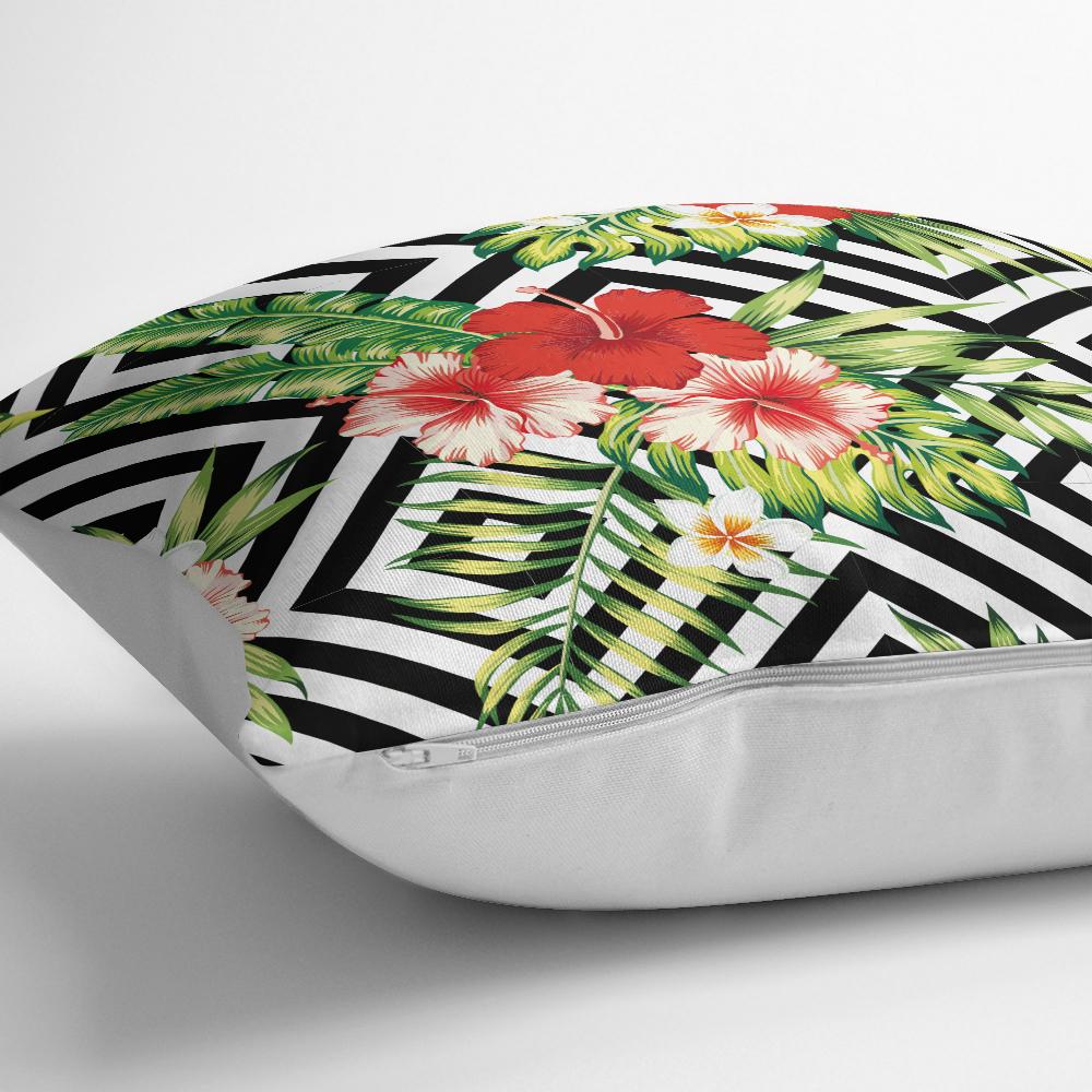 Geometrik Zeminde Çiçek Desenli Yastık Kırlent Kılıfı Realhomes