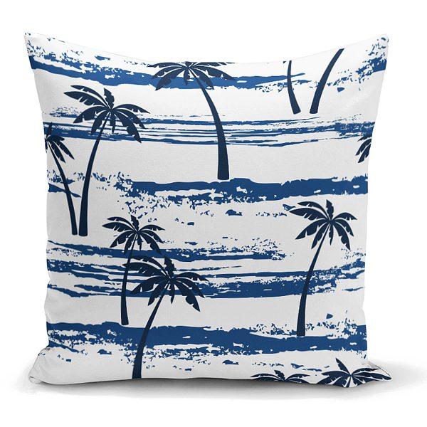 Mavi Palmiye Desenli Dekoratif Yastık Kırlent Kılıfı Realhomes