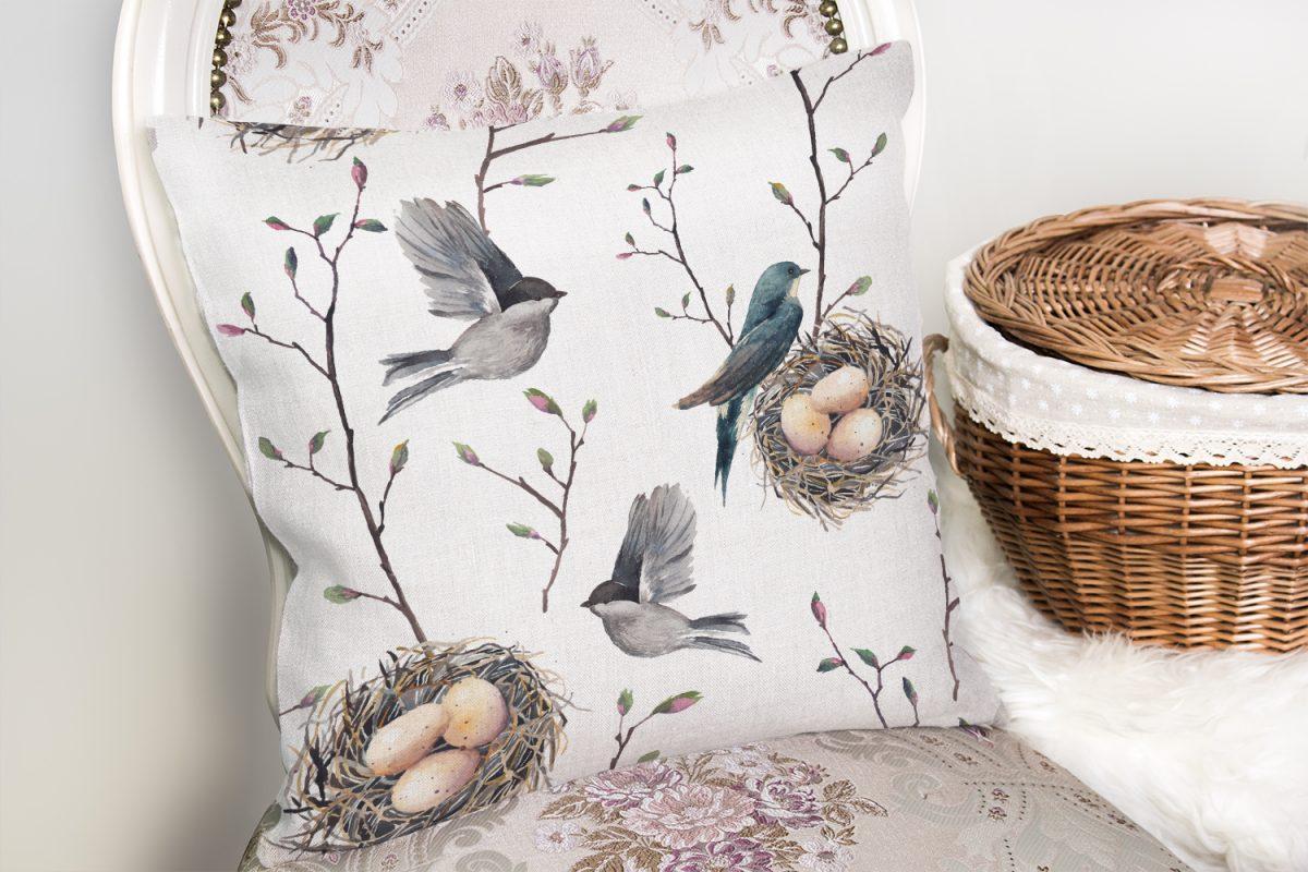 Kuşlar ve Dal Desenli Dekoratif Yastık Kırlent Kılıfı Realhomes