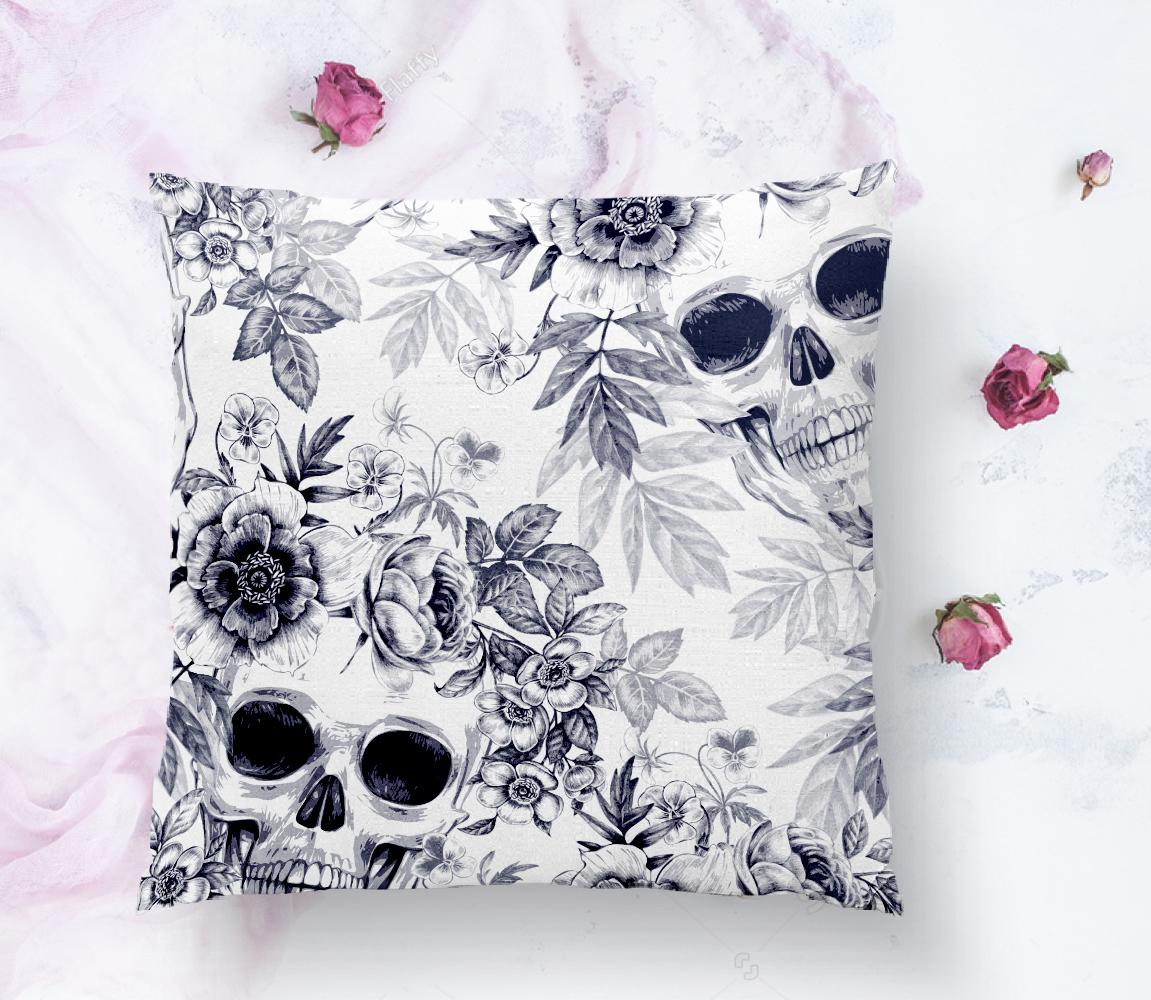 Kurukafa ve Çiçekler Motifli Dekoratif Yastık Kırlent Kılıfı Realhomes