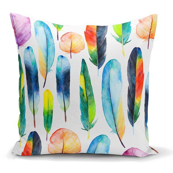 Renkli Tüyler ve Yapraklar Resimli Dekoratif Yastık Kırlent Kılıfı Realhomes