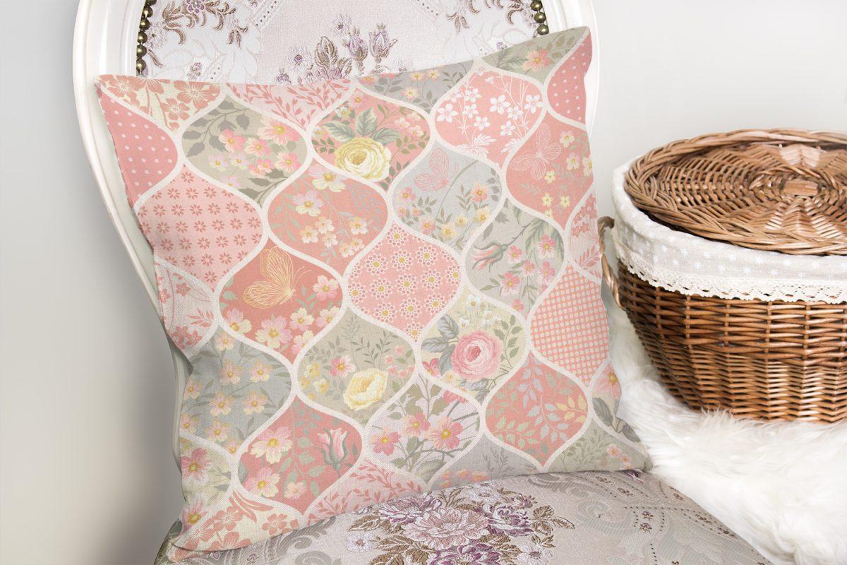 Ogea Çiçek Desenli Modern Yastık Kırlent Kılıfı Realhomes