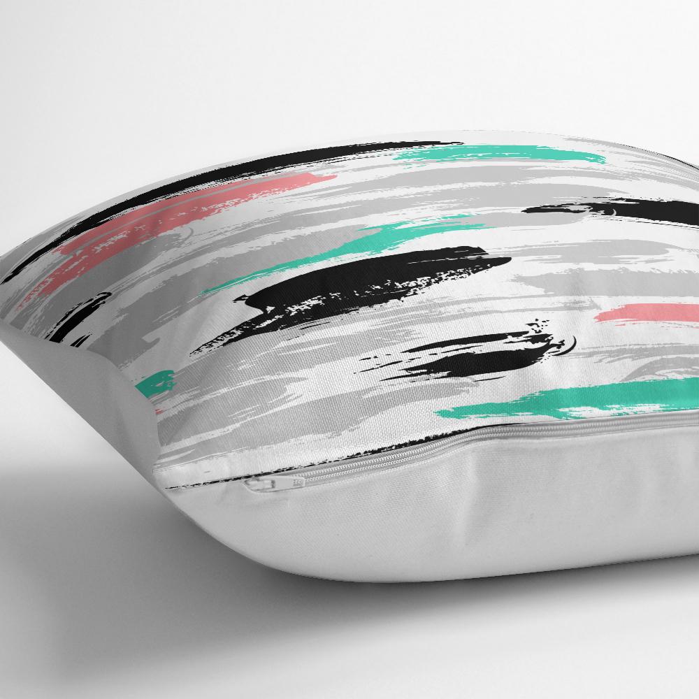 Renkli Fırça Darbeleri Desenli Dekoratif Yastık Kırlent Kılıfı Realhomes