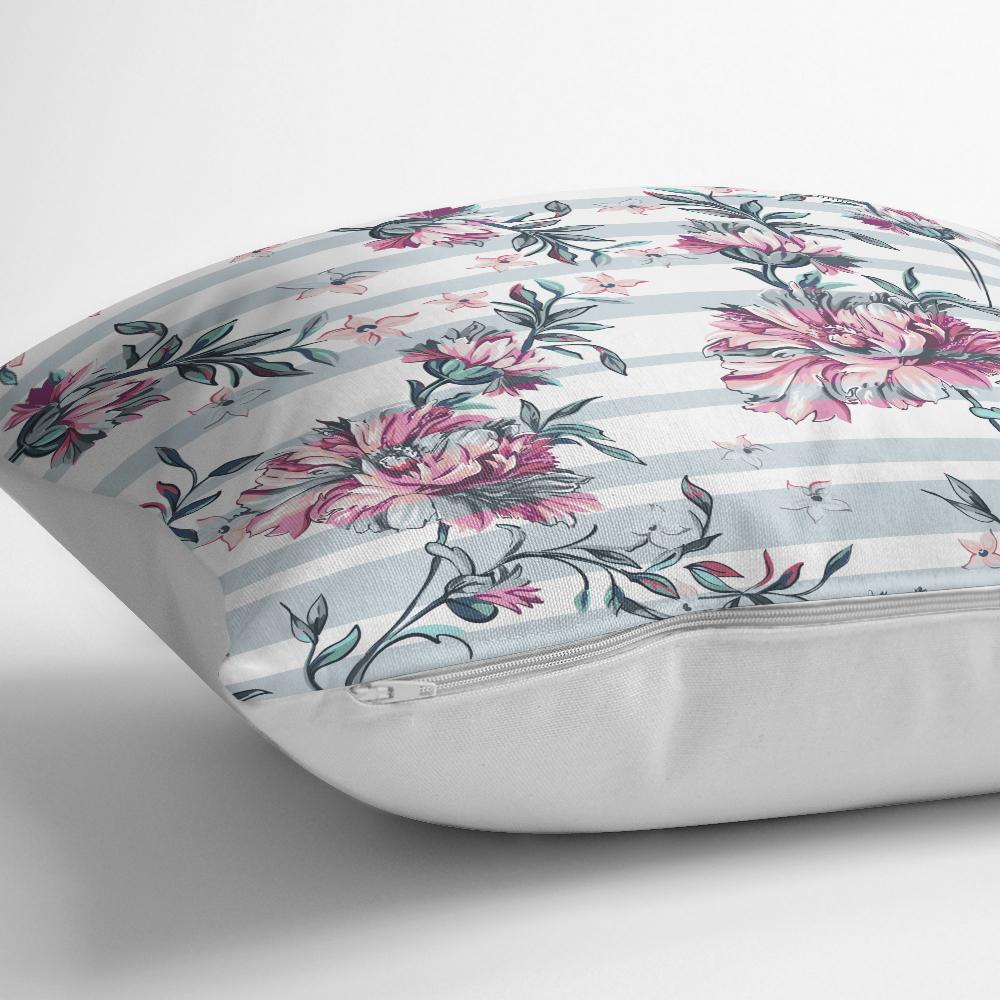 Çizgili Çiçek Desenli Dijital Baskılı Dekoratif Yastık Kırlent Kılıfı Realhomes