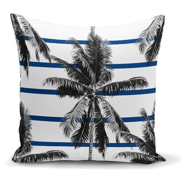 Çizgili Palmiye Yaprakları Dekoratif Yastık Kırlent Kılıfı Realhomes