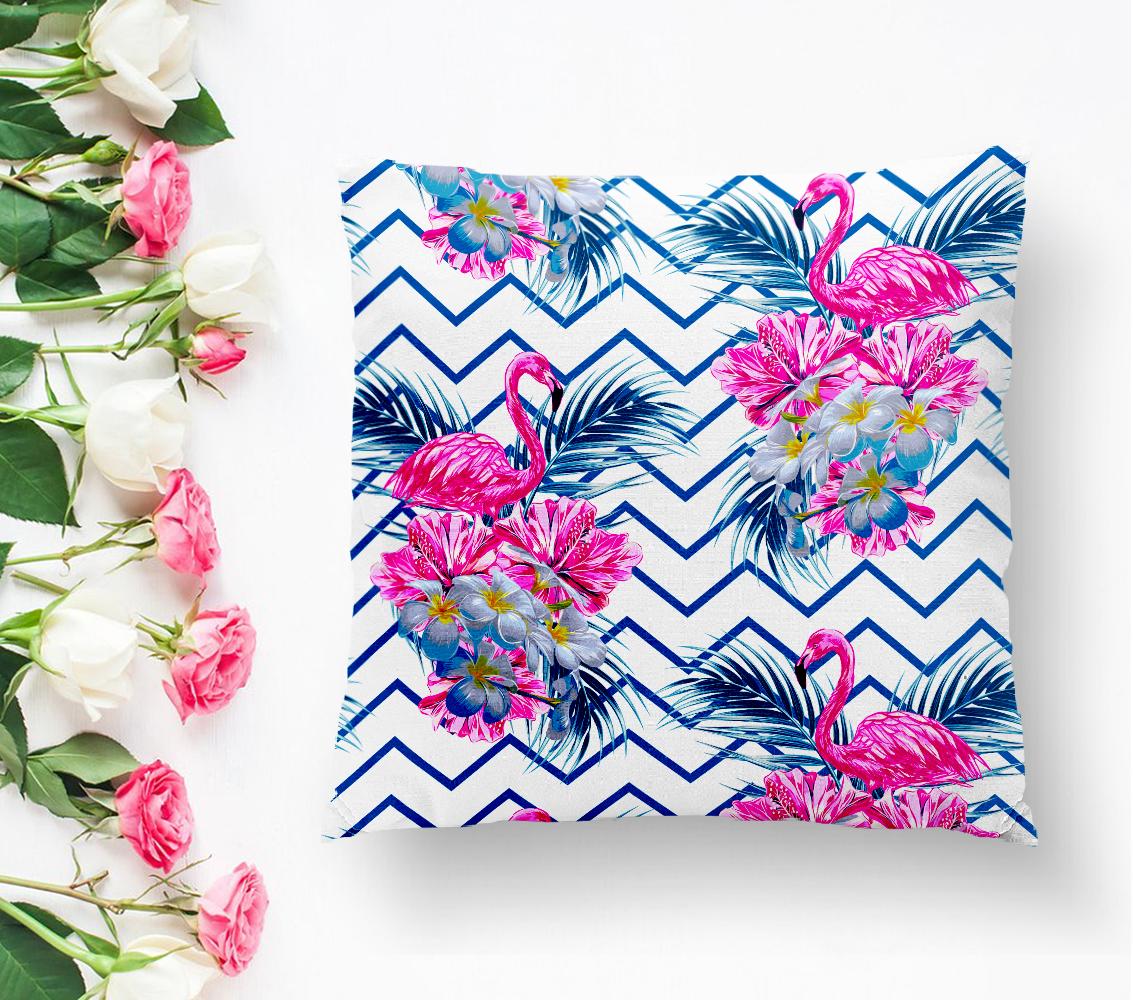 Zigzag Zeminli Flamingo Baskılı Dekoratif Yastık Kırlent Kılıfı Realhomes
