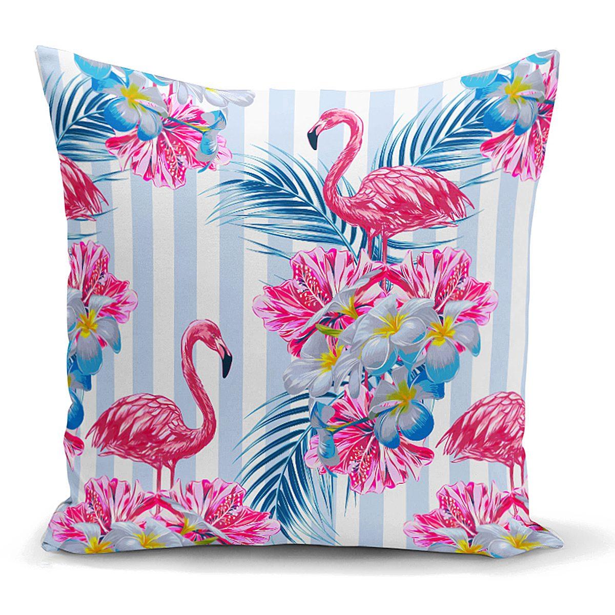 Çizgili Flamingo Zeminli Dekoratif Yastık Kırlent Kılıfı Realhomes