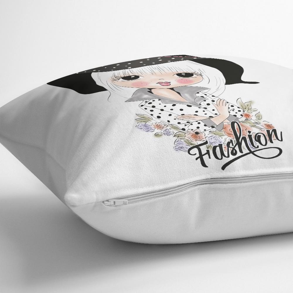 Fashion Girl Dijital Baskılı Yastık Kırlent Kılıfı Realhomes